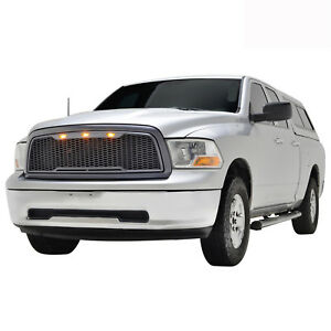 2009 2012 Dodge Ram 1500 Gray Packaged Abs Front Hood Led Grille W Shell