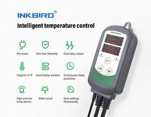 Inkbird Itc308 Temperature Controller Thermostat Switch 110 240v 2 Relay Output