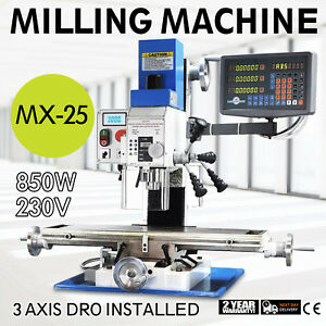 Mx 25 Vertical Bench Top Milling Machine 230v Over Load Protect Scaleplate