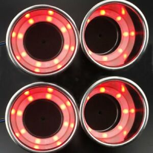 Red 4pcs 8led Stainless Steel Cup Drink Holder Marine Boat Car Truck Camper Free
