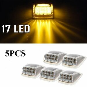 5 Amber Lens 17 Led Roof Running Top Clearance Reflector Lights For Freightliner