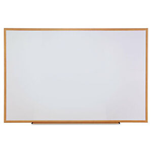 Universal Dry erase Board Melamine 72 X 48 White Oak finished Frame