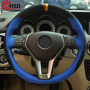 Hand Stitched Sew Leather Suede Steering Wheel Cover For Mercedes Benz B180 2012