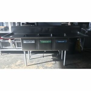 Used 3 Compartment Sink 16 X 20 Compartments Double Drainboards Ud 3cs16x