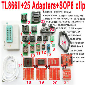 Mini Pro Tl866ii Plus Programmer 25 Adapters sop8 Clamp Bios Mcu Flash Eprom