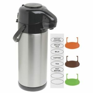 Hubert Airpot Coffee Server With Pump Lid 3 Liter Stainless Steel