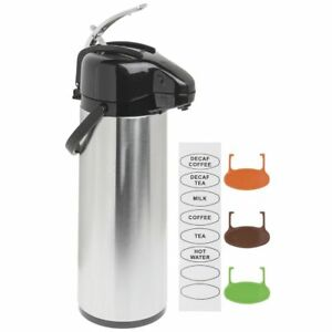 Airpot Coffee Server 3l Stainless Steel Glass lined Lever Lid Air Pot