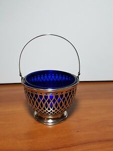 Frank Whiting Sterling Silver Swing Handle Basket Sugar Bowl Cobalt Glass Liner