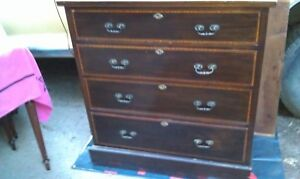 Vintage Wood Mahogany Dresser Chest Of 4 Drawers Solid Wood Antique Keyholes