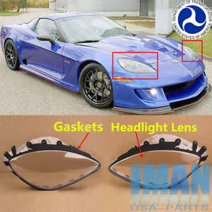Dot Pair C6 Corvette Headlight Lenses Cover Replacement Gaskets 2005 13