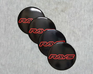 56 5mm Wheel Center Caps Hub Emblem Black Red Rays Decal Badge Sticker