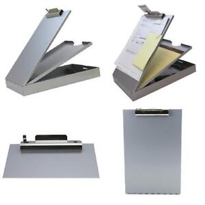 Aluminum Clip Board 2 Compartment Document Storage Box Metal Office Letter Gray