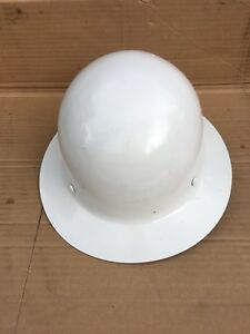 Vintage White Fiberglass Msa Skullgard Safety Hard Hat