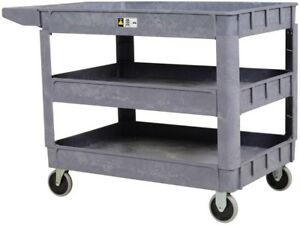 Plastic Utility Service Cart 3 Shelf Durable Lightweight 4 Wheels Hand Truck