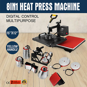 8in1 Digital Heat Press Machine Transfer T shirt Cap Sublimation Printer Updated