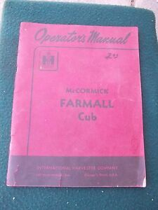 Mccormick Farmall Cub Tractor Orignal Ih Ihc Red Vintage Owners Manual 1004120r6