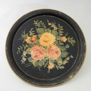 Antique Hand Painted Chippendale Metal Toleware Tray Black Round Circular Floral