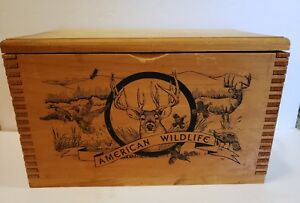 American Wildlife by Evans Wooden Hinged Lid Ammo Box 16x10x8 Dovetail Const.