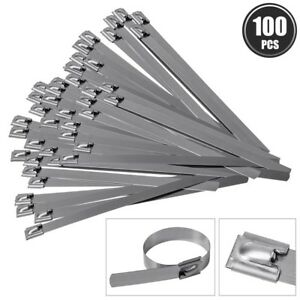 100 Pcs 7 8 Stainless Steel Cable Zip Ties Header Wrap Straps Self Locking Tie