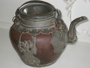 Antique Chinese Yixing Clay Teapot W Partial Pewter Overlay
