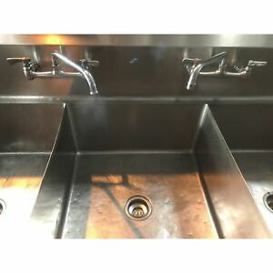 Used 3 Compartment Sink With Double Drain Boards And Faucet Ud 3cs24c 051118