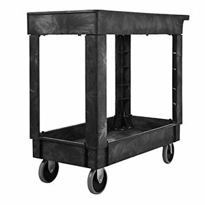 Rubbermaid Commercial Service utility Cart Two shelf 300 Lb Capactiy Black