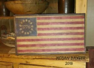 Primitive Wooden Sign 1776 American Flag Awesome