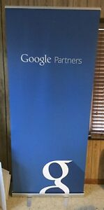 Google Partners Trade Show Banner Sign Retractable W Case 82 Adwords Glass Rare