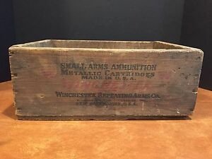 Antique Wooden Ammunition Ammo Crate .32 Winchester Special Rifle Cartridges