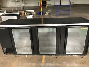 96 True Glass Door Back Bar Cooler