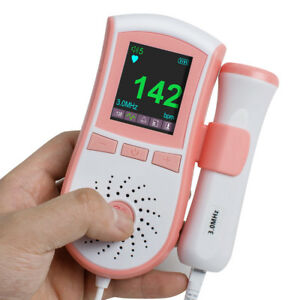 Usa New 4 Function Fetal Doppler Prenatal Baby Sound Monitor 3m Probe Alarm Pink