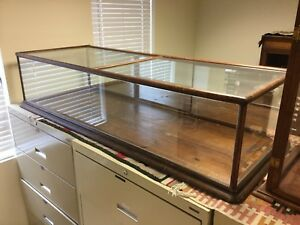 Antique General Store Oak Counter Top Display Case With Mirror Back