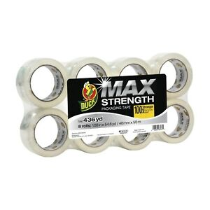 Duck Max Strength Packing Tape Refill 8 Rolls 1 88 Inch X 54 6 Yard Clear 24