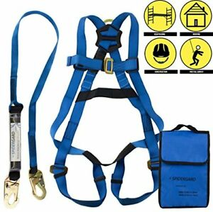 Safety Harness Bundle With 6ft Shock Absorber Snap Hook Lanyard Fall Protection