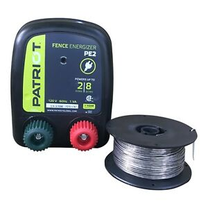 Patriot Pe2 Electric Fence Energizer Plus Fi shock 250 feet 17 Gauge Spool Alumi