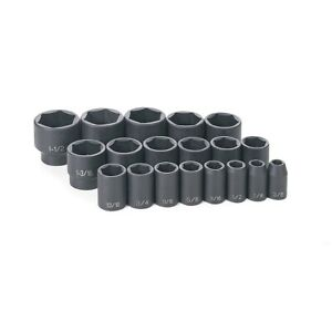 19 Pc 1 2 Dr Fractional Impact Socket Set Grey Pneumatic Gry1319