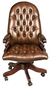 Tufted Brown Leather Antique Style Tall Back Adjustable Office Desk Chair Fs
