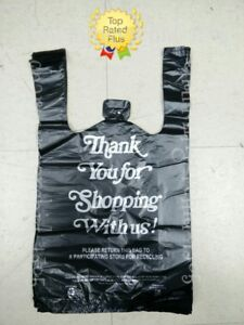 10 x 5 x 18 Hdpe Black Thank You Plastic T shirt Bags 1 8 Retail Shopping Bags