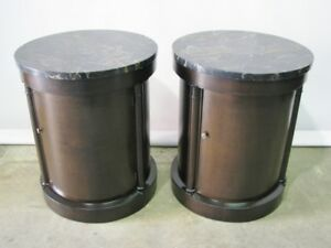 1960 S Pair Vintage Baker Furniture Drum Style End Tables With Marble Tops Mint