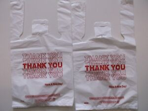 2000 Ct plastic Shopping Bags t Shirt Type Grocery white Small Size Bags