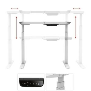 Electric Sit Stand Desk Frame Height Width Adjustable Dual Motor Steel White