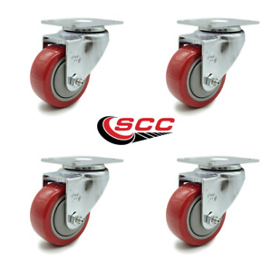Scc 3 X 1 25 Red Polyurethane Wheel Swivel Casters Set Of 4
