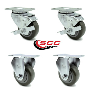 Service Caster 3 5 Gray Poly Wheel 2 Rigid And 2 Swivel Casters W brakes