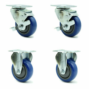 Service Caster 3 5 Blue Poly Wheel 2 Rigid And 2 Swivel Casters W brakes