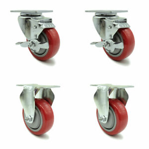 Service Caster 3 5 Red Poly Wheel 2 Rigid And 2 Swivel Casters W brakes
