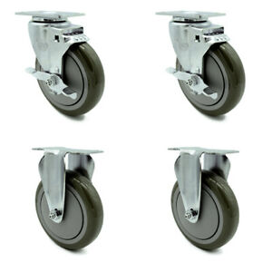 Service Caster 5 Gray Poly Wheel 2 Rigid And 2 Swivel Casters W brakes