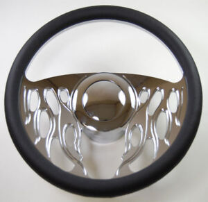 Hot Rod 14 Chrome Billet flamed Style Steering Wheel Package W leather Grip