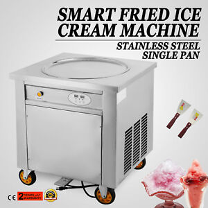 1800w Single Round Pan Fried Ice Cream Roll Machine 110v 60hz 50cm Pan Size