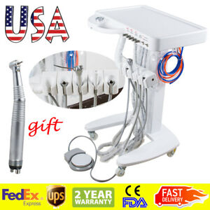 Usa Portable Mobile Dental Delivery Unit System Cart 4 Hole Led High Handpiece
