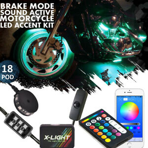 18 Pod Motorcycle Music Bluetooth Control 108 Led Neon Accent Glow Light Kit Rgb